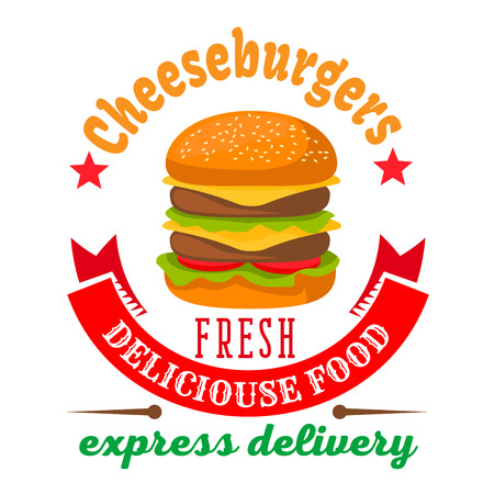 Double cheeseburger with fresh vegetables and grilled beef round icon framed by curved ribbon banner and stars. Fast food delivery service badge or burger shop takeaway packaging design usage