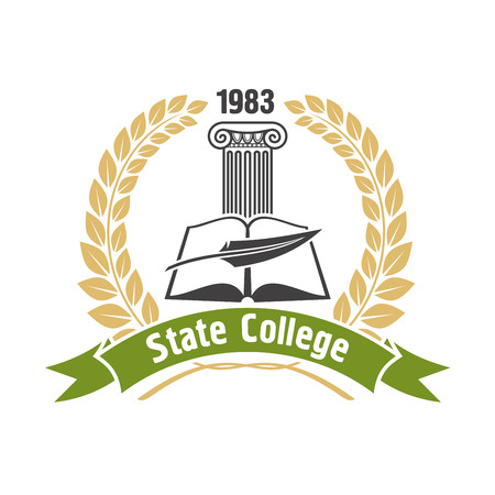 ionic: State college heraldic insignia with open book, feather pen and ionic greek column, framed by golden laurel wreath and green ribbon banner. May be use as education badge, emblem or symbol design