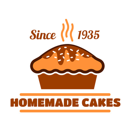 homemade cake: Homemade cakes and pies vintage symbol with fresh baked delicious dessert. Chocolate cake for pastry shop interior accessories or organic cafe menu design