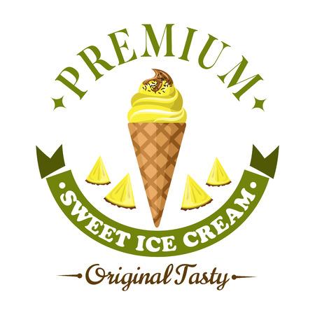 alimentos congelados: Refrescante con sabor a fruta insignia helado, enmarcado Premium cabecera y bandera de la cinta a continuación. Piña suaves sirven icono de hielo crema cono con rodajas de fruta de piña fresca para el diseño de menú de postres