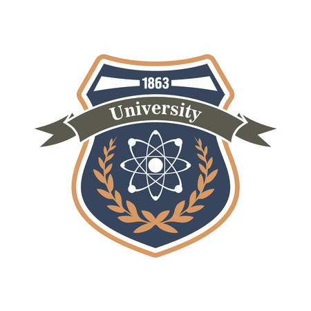 adorned: University retro sign in a shape of heraldic shield with nuclear atom symbol, adorned by laurel wreath and ribbon banner. Use as science education theme or physics and engineering badge design