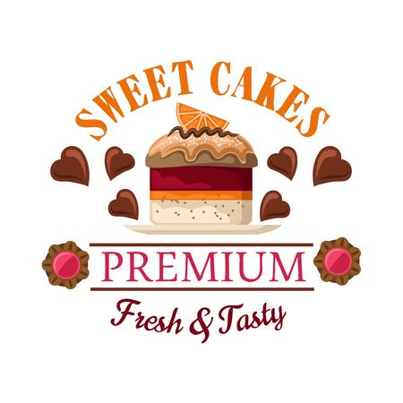 Roter Samt Mini-Kuchen Symbol für Bäckereigeschäft unter oder Café-Menü-Design mit Petit Fours gekrönt von Karamellsauce und Orangenfruchtscheibe, umgeben von herzförmigen Pralinen und Marmelade gefüllt Cookies