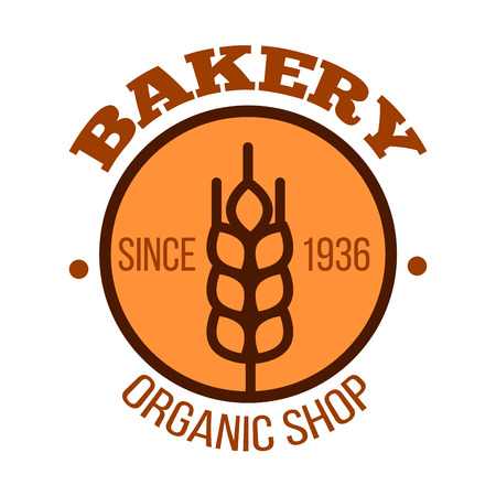 signboard design: Organic bakery shop icon of orange round badge with ripe wheat ear and date foundation in the center. Use as healthy food packaging or bakery signboard design Illustration
