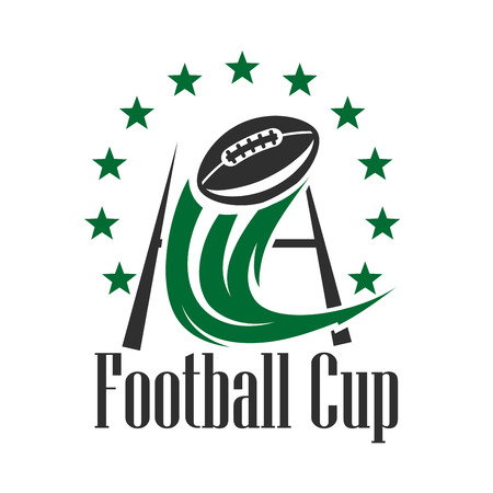 goal post': Football championship cup sign in green and black colors with ball flying through the goal post with curved decorative motion trail, framed by stars. American football competition theme design