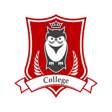 crowned: College or academy heraldic sign in red and white colors of figured shield with crowned owl bird, adorned by ribbon banner and laurel branches. Great for education theme design usage Illustration