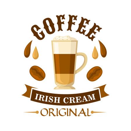 Delicious irlandese crema di caffè cocktail simbolo servito in tazza di vetro con panna montata, decorato da gocce di caffè e crema di liquore irlandese, chicchi di caffè e nastro curvo. Utilizzare come menu di cocktail o un caffè interior design