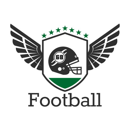 sporting: American football retro badge of protective helmet with face mask on winged shield with stars on the top. Use as sporting team symbol or sports club insignia design