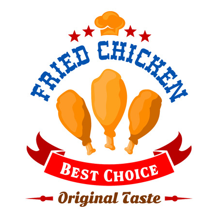 fried: Best in town fried chicken retro badge adorned with chef hat and stars on the top and bright red ribbon banner below. Fast food fried chicken legs icon for takeaway menu or food delivery design usage