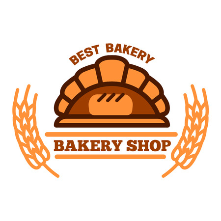 woodfired: Brick oven bread symbol of woodfired oven with appetizing loaf inside, flanked by wheat ears and headers. Great for organic bakery shop menu board or food packaging design