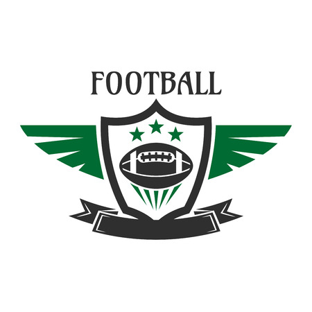badge with ribbon: American football sports team sign of ball with stars, framed by winged heraldic shield with ribbon banner below. May be used as sporting badge, insignia or emblem design Illustration