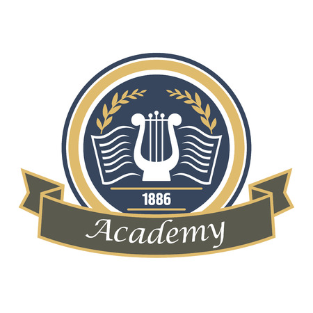 educational institution: Music and arts academy round badge with vintage lyre and book decorated by laurel wreath and ribbon banner. Educational institution heraldic insignia or art education theme design usage