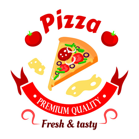 topped: Premium italian pizza icon topped with salami, olives, tomatoes and peppers vegetables surrounded by ribbon banner, fresh tomatoes and cheese slices arranged into round badge. Great for fast food cafe or pizzeria signboard design