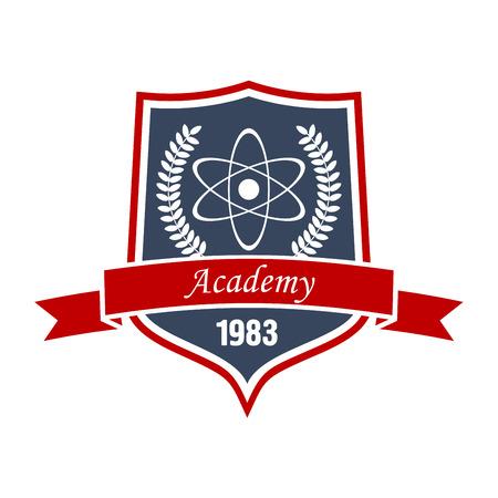 Académie des insignes de la physique ou de la science symbole de l'éducation avec le modèle d'atome, entouré par une couronne de laurier sur le bouclier médiéval avec bannière de ruban. Peut être utilisé comme l'éducation ou le thème de la conception héraldique Vecteurs