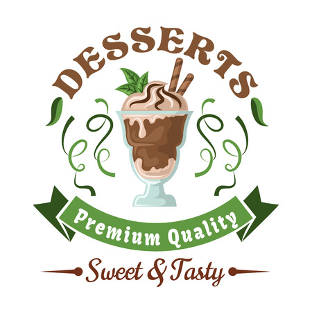 badge with ribbon: Chocolate ice cream retro badge topped with whipped cream, wafer rolls, and fresh mint leaves, adorned by header Desserts, green twists of lime fruit zest and ribbon banner. Use as cafe or bar menu design element Illustration