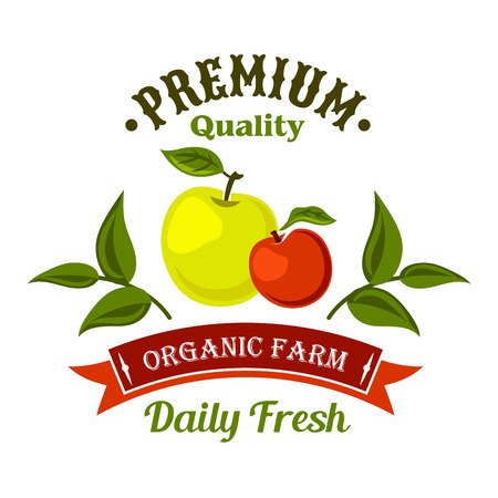 freshly: Locally farm grown fresh apple fruits retro symbol for harvest festival or farm market design. Freshly harvested fruits badge decorated by apple branches and retro ribbon banner with text Organic Farm Illustration