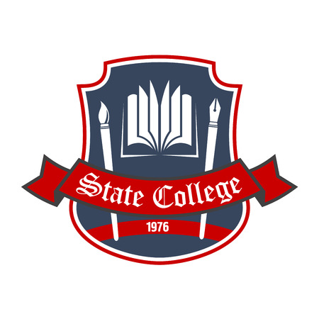 book logo: Arts school retro badge with book, ink pen and paintbrush on dark gray shield with red ribbon banner. Use as liberal arts heraldic insignia or educational institution theme design