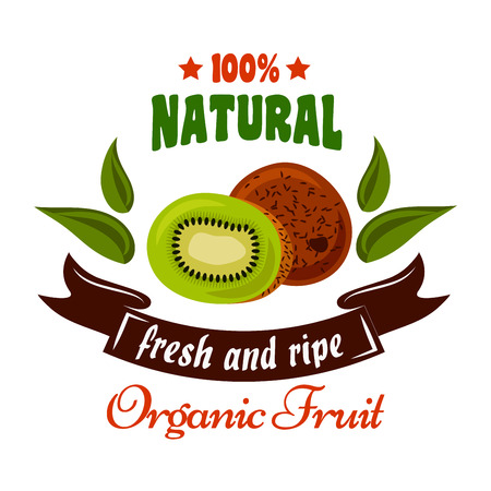 greengrocery: Organic fruits retro symbol of tropical fresh kiwi fruit with juicy slice, green leaves and brown ribbon banner below. Natural organic fruits badge, greengrocery and farm market design