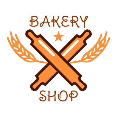 crowned: Bakery shop sign of crossed wooden rolling pins with cereal ears, crowned by star. Retro stylized bakery badge or pastry shop menu design usage Illustration