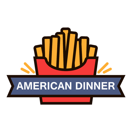 american food: American fast food dinner retro badge with takeaway red paper box of french fries. Use as fast food cafe menu or food delivery service design. Thin line style Illustration
