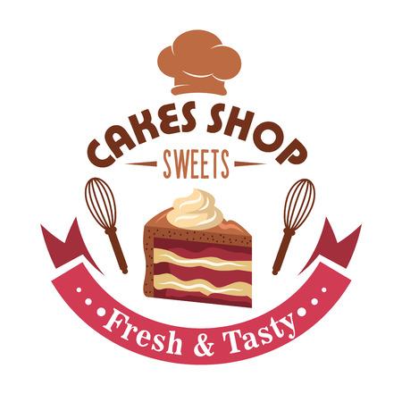 케이크 가게 상단과 마젠타 리본 배너 양쪽에 거품기에 둘러싸인 버터 크림의 소용돌이로 장식 된 초콜릿 설탕, 요리사 모자와 계층 딸기 케이크의 조