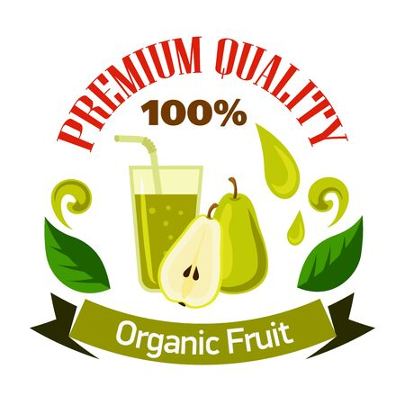 squeezed: Flavorful sweet pear fruits with glass of fresh squeezed juice cartoon symbol for organic shop or cafe menu design. Premium quality fruits badge, decorated by juice splashes, leaves and ribbon banner