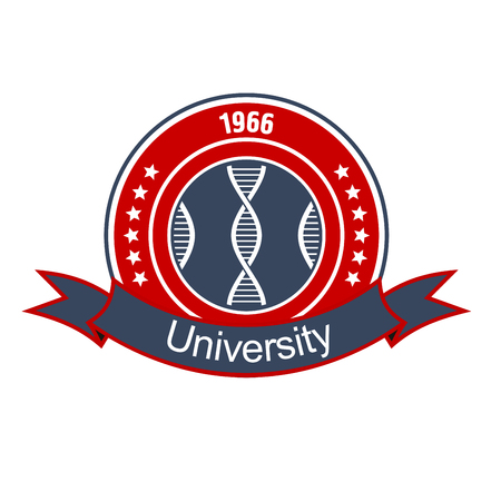 academy: Retro round insignia with DNA helices, encircled by stars and heraldic ribbon banner with text University. Great for medical and science educational institution design usage Illustration