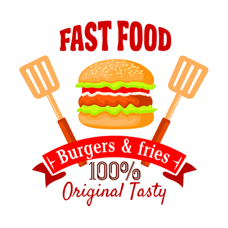 Burger shop badge design template of fast food hamburger with beef patty, salad, tomato and onion vegetables on sesame bun, flanked by spatulas and ribbon banner with text Burgers and Fries. Fast food cafe takeaway menu design usage