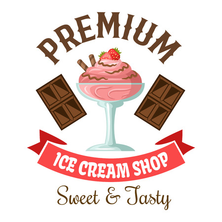 gelato: Ice cream shop symbol of strawberry gelato with chocolate and fresh fruit toppings, flanked by dark chocolate bars and vintage pale pink ribbon banner below. Great for takeaway ice cream cup or dessert menu design usage