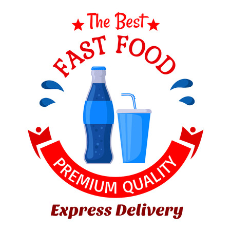 glass cup: Sweet soft beverages icon of glass bottle and fast food takeaway cup of soda drinks decorated by stars, water splashes and ribbon banner below. Use as fast food cafe or food delivery service design