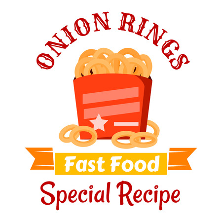 deep fried: Takeaway fast food snacks icon with crispy deep fried onion rings in red paper box, decorated by stars with orange ribbon banner below and caption Special Recipe. Fast food cafe or pub menu design Illustration