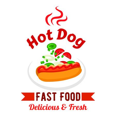 ファーストフードのテイクアウト サンドイッチ メニュー デザイン要素ホットドッグ、マスタード、ケチャップ、トマト、きゅうり、玉ねぎの野菜