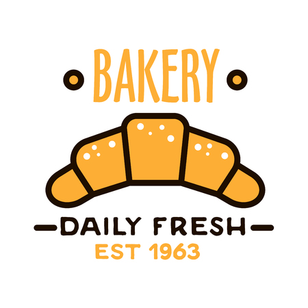 paper bags: Daily fresh bakery flat linear badge with powdered fresh croissant, supplemented by date foundation below. Bakery shop design template for signboard or kraft paper bags
