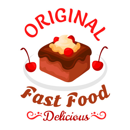 brownie: Fast food sweet treats symbol with brownie cake topped with chocolate sauce, vanilla cream and cherries fruits. Chocolate cake badge for pastry shop or fast food dessert menu design Illustration