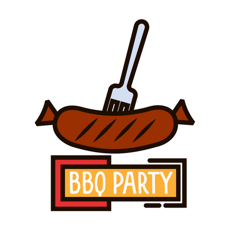 outdoor party: Grilled sausage on barbecue fork colorful thin line symbol with yellow banner BBQ Party. Great for restaurant grill menu or outdoor party invitation design