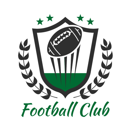 american sport: Football sport heraldic symbol of medieval shield with flying ball decorated by laurel wreath and stars. American football sports club or team badge design usage