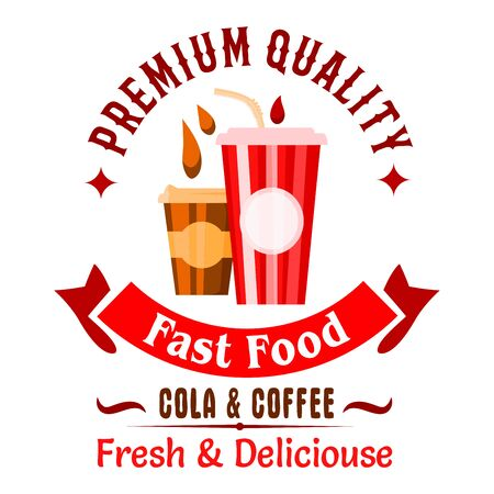 great coffee: Fast food sweet beverages badge of takeaway coffee and soda drinks in paper cups with header Premium Quality and ribbon banner with text Fast Food. Great for cafe menu or takeaway coffee cups design Stock Photo