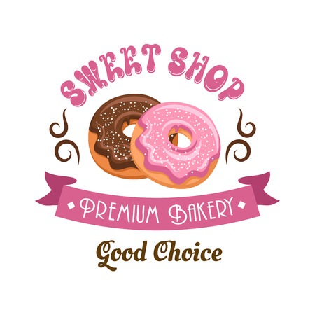 sweet shop: Donut shop retro cartoon badge with chocolate and pink frosted doughnuts, supplemented by vintage ribbon banner, swirling lines and header Sweet Shop