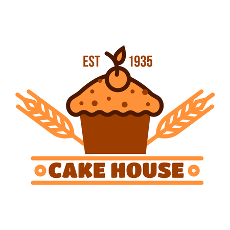 topped: Retro badge for cake house and pastry shop design with chocolate cupcake topped by cherry. Bakery, cafe or pastry shop menu board design