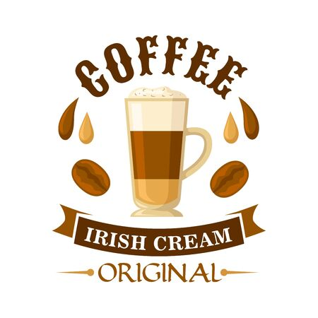 liqueur: Delicious irish cream coffee cocktail symbol served in glass cup topped with whipped cream, decorated by drops of coffee and irish cream liqueur, coffee beans and curved ribbon. Use as cocktail menu or cafe interior design
