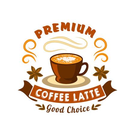 Insigne de café rétro stylisé pour l'utilisation de café ou de menu de café avec une tasse de latte en céramique en poudre en cacao, ornée de fruits aux anis étoilés et d'une bannière de ruban ondulé avec tête Premium