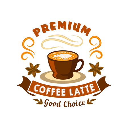Retro stylized coffee badge for coffee house or cafe menu design usage with brown ceramic cup of latte powdered by cocoa, adorned by star anise fruits and wavy ribbon banner with header Premium
