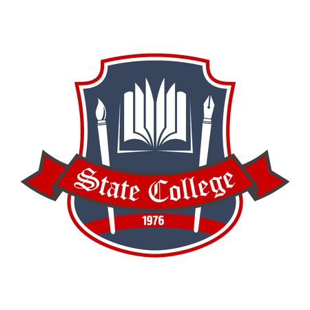 educational institution: Arts school retro badge with book, ink pen and paintbrush on dark gray shield with red ribbon banner. Use as liberal arts heraldic insignia or educational institution theme design