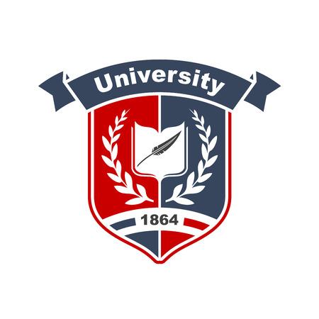 リボンで突破した中世のシールドの月桂冠に囲まれた本と羽のペンで大学のヴィンテージ紋章サイン。教育または紋章のテーマ デザイン