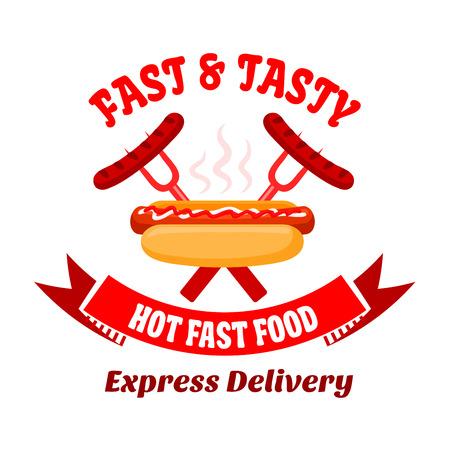 Grill symbole de barre de hot-dog assaisonné avec du ketchup et de la mayonnaise sauces et croisa fourchettes de barbecue avec des saucisses grillées sur le fond. Grand pour la conception menu ou le service de livraison de nourriture badges