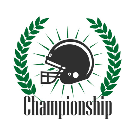sporting: Retro sporting icon of american football protective helmet with sun rays, supplemented by heraldic laurel wreath with caption Championship. Football sporting tournament badge or team insignia design