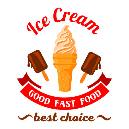 melting chocolate: Fast food desserts retro cartoon badge with refreshing vanilla ice cream cone and melting chocolate ice cream on sticks. Use as fast food cafe dessert menu or ice cream takeaway paper cup design