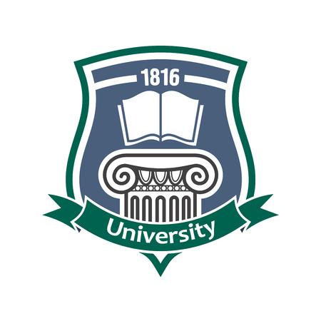 Onderwijsinstelling vintage teken van de middeleeuwse schild met open boek en decoratieve oude Griekse kolom, aangevuld met heraldische lint banner. Architectonische of historische onderwijs thema ontwerp