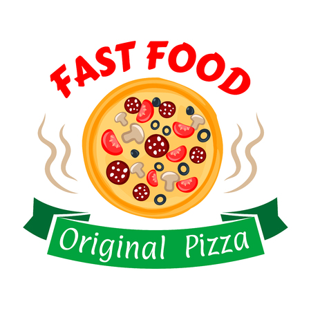 pepperoni pizza: Hot and spicy pepperoni pizza symbol with sausages and cheese, olives, tomatoes and mushrooms toppings. Fast food pizza icon with green ribbon banner for pizzeria and cafe design Illustration