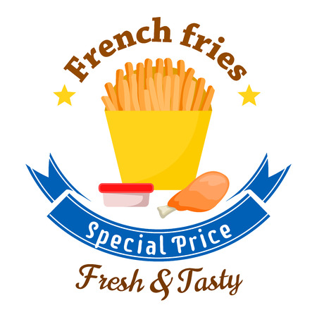 fry: Fast food lunch special offer badge with yellow paper box of french fries served with fried chicken leg and takeaway cup of tomato sauce, framed by stars and blue ribbon banner with text Special Price. Fast food cafe menu board design Illustration