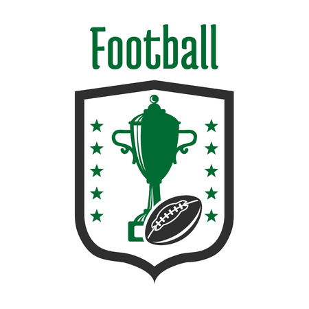 flanked: Football game sporting competition badge design template with sign in a shape of a shield with trophy cup and american football ball, flanked by rows of stars. Football championship theme design usage Illustration